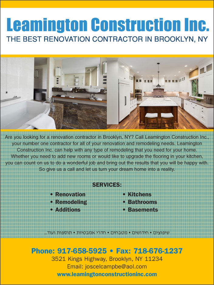Leamington Construction Inc Contractor Jewish Directory Adorable Brooklyn Remodeling Painting